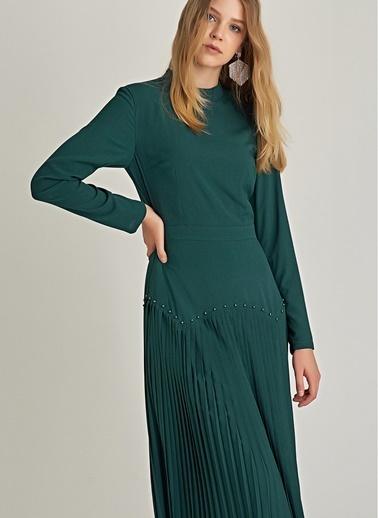 NGSTYLE Piliseli ve Troklu Elbise Yeşil